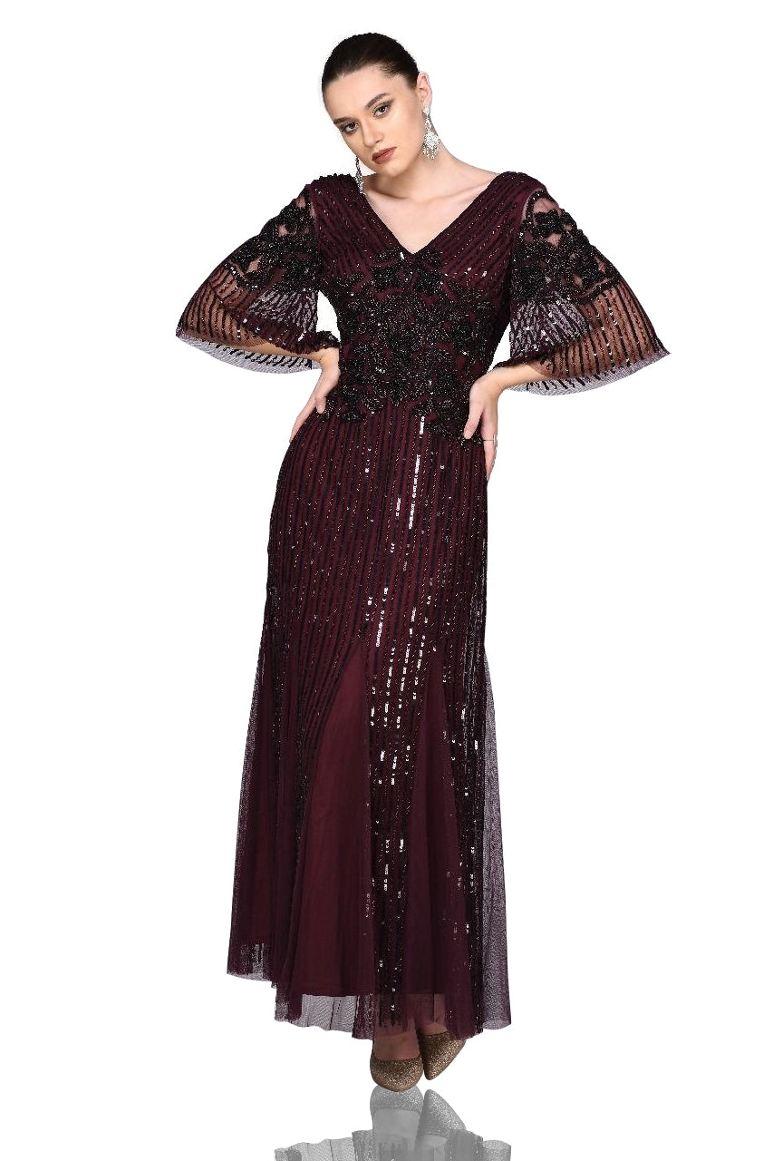 1920s Style Dresses, 20s Dresses Galina Gown in Plum $250.00 AT vintagedancer.com
