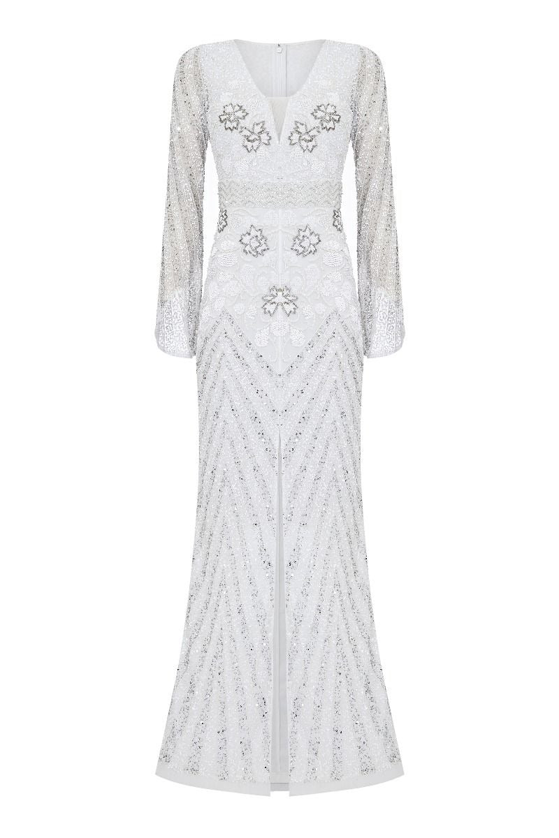 1920s Wedding Dresses- Art Deco Wedding Dress, Gatsby Wedding Dress Camilla 1920s Wedding Maxi Dress in White $250.00 AT vintagedancer.com