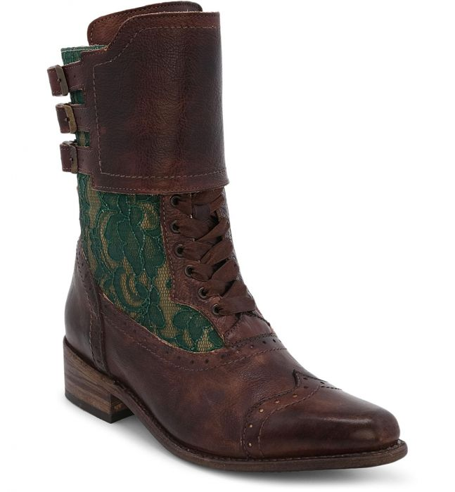 Vintage Boots, Retro Boots Faye Victorian Style Short Boots in Teak Rustic $285.00 AT vintagedancer.com