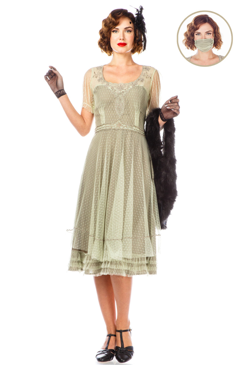1920s Day Dresses, Tea Dresses, Mature Dresses with Sleeves 1920s Flapper Style Dress 40832 in Mint by Nataya $225.00 AT vintagedancer.com