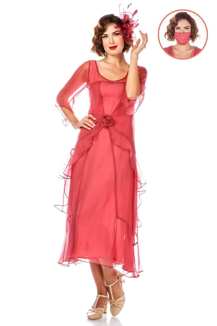 Flapper Outfit: How to Dress Like a 20s Flapper Girl Great Gatsby Party Dress in Rose Blossom by Nataya $249.00 AT vintagedancer.com