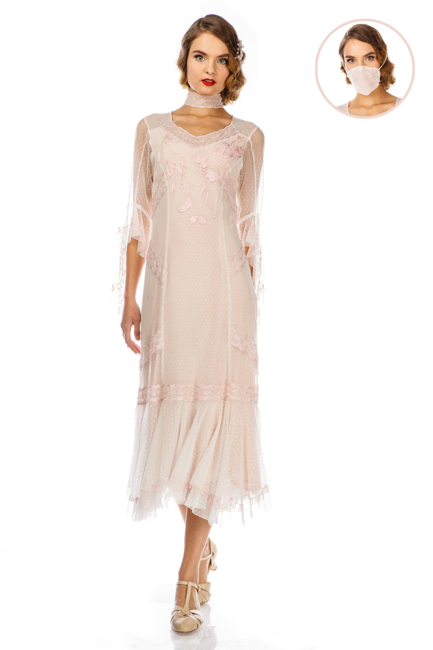 1920s Day Dresses, Tea Dresses, Mature Dresses with Sleeves 1920s Style Dress 40825 in Ivory by Nataya $275.00 AT vintagedancer.com