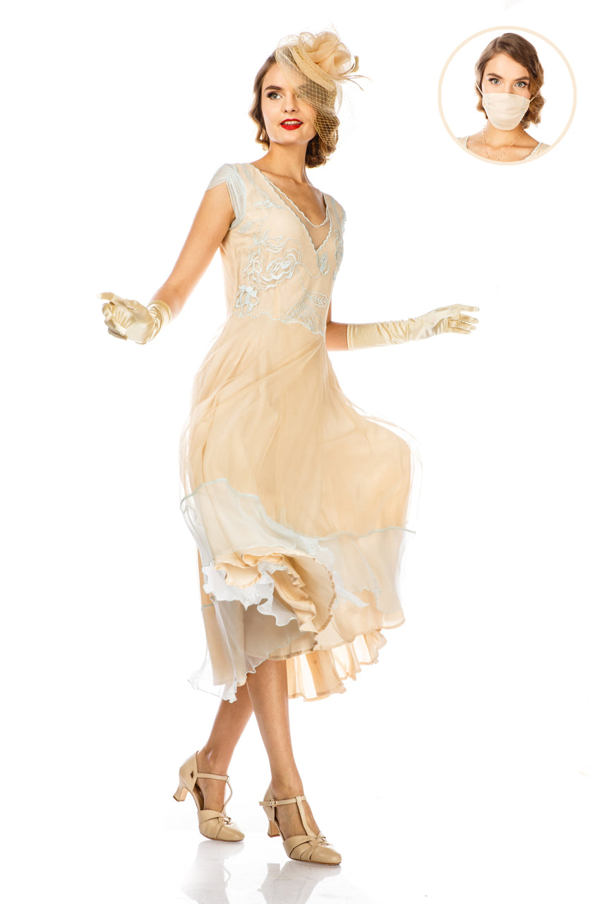 1920s Afternoon Dresses, White Tea Dresses Ayla 1920s Style Wedding Dress in Nude Mint by Nataya $248.00 AT vintagedancer.com