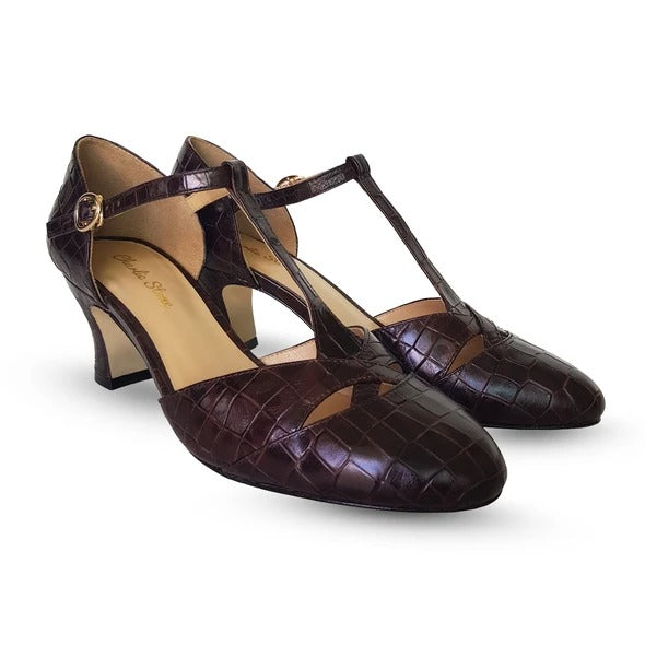 Women's 1920s Shoe Styles and History Roma 1920s Style Heels in Espresso Croc $175.00 AT vintagedancer.com