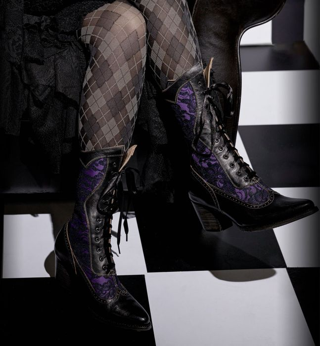 Steampunk Boots & Shoes, Heels & Flats Biddy Victorian Style Tall Boots in Black $220.00 AT vintagedancer.com
