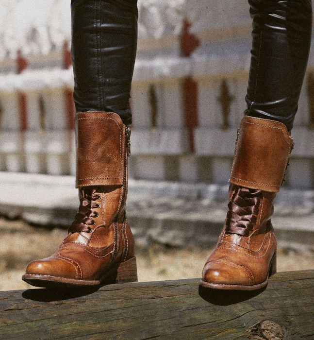 Vintage Boots, Retro Boots Faye Victorian Style Short Boots in Tan Rustic $285.00 AT vintagedancer.com
