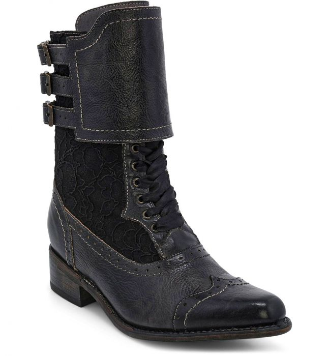 Vintage Boots, Retro Boots Faye Victorian Style Short Boots in Black $285.00 AT vintagedancer.com