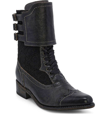 FAYE VICTORIAN STYLE SHORT BOOTS IN BLACK