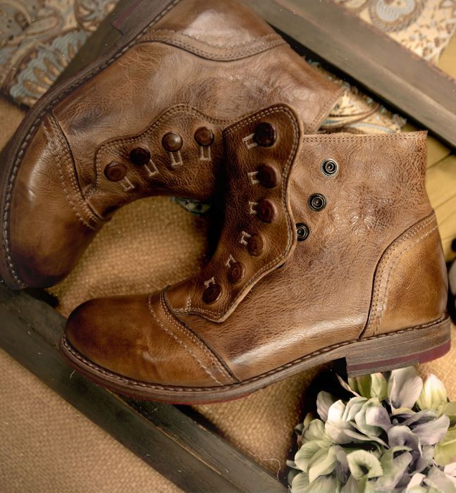 Edwardian Shoes – Styles for Women Josephine Victorian Style Short Boots in Tan Rustic $245.00 AT vintagedancer.com