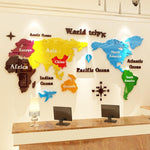 Stickers Carte du Monde 3D Multicolore