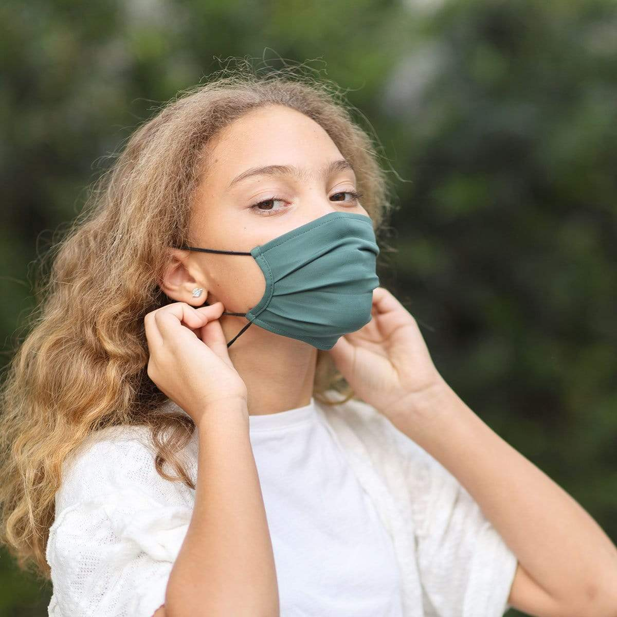 Meryl Face Mask Green Children's Hydrogen Antimicrobial Earloop Face Mask