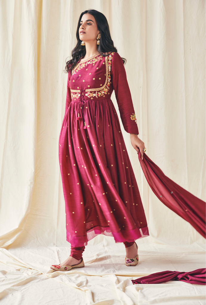 Wine Floral Yolk Meera Anarakli Set