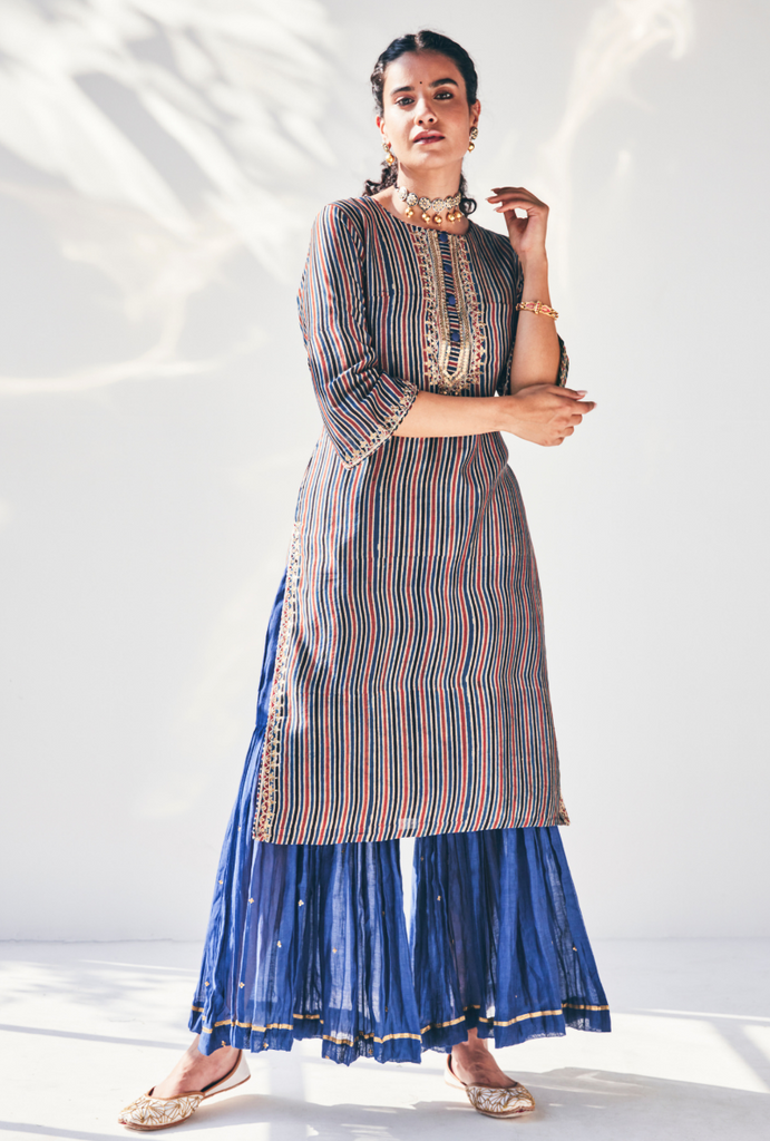 Blue Stripes Fiza Kurta Set
