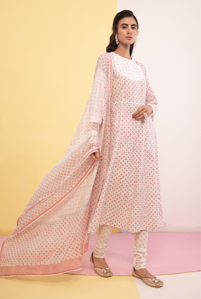 Pink Cotton Candy Anarkali Kurta Set