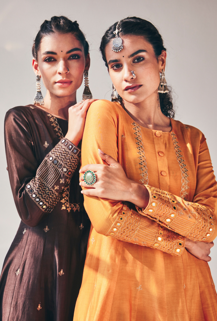 Yellow Antique Sequins Fiza Kurta Set