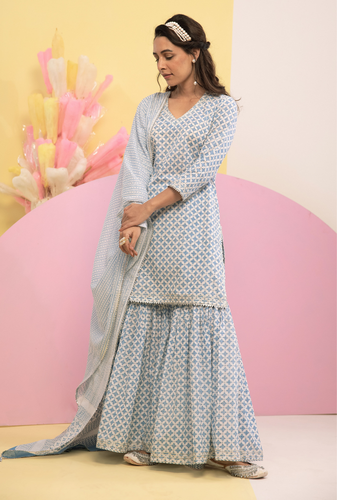 Blue Cotton Candy Gharara Set