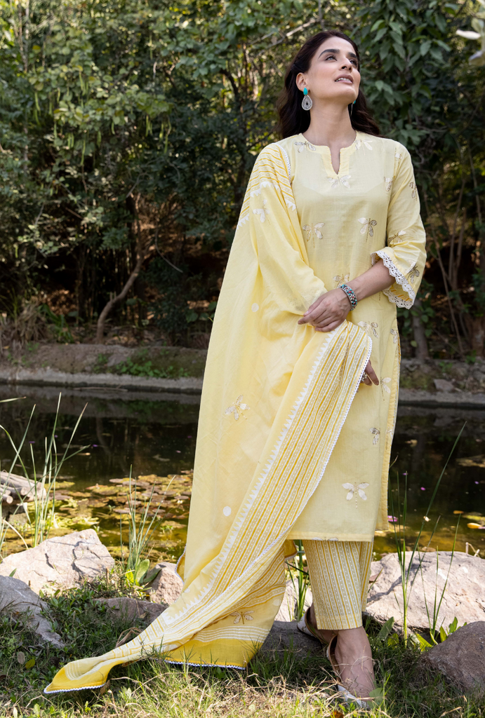 Yellow Titlie Straight Kurta Set