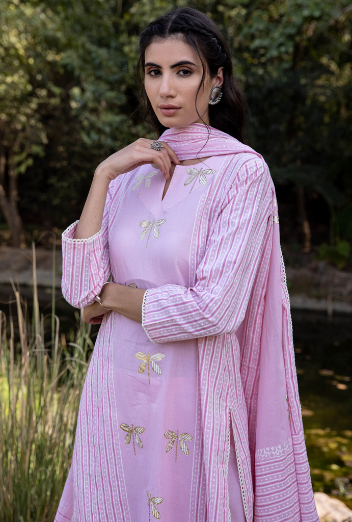 Pink/Ivory Titlie Straight Panel Kurta Set