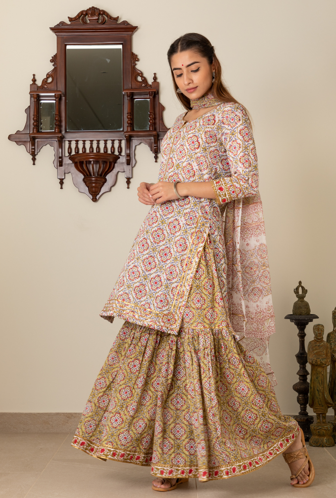 Green & Red Print Gharara Set
