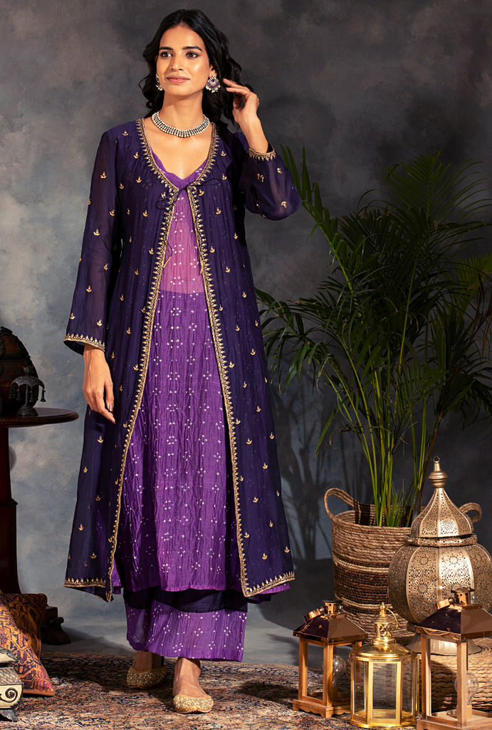 Saanjh 3 pc Purple Bandhej Jacket Set
