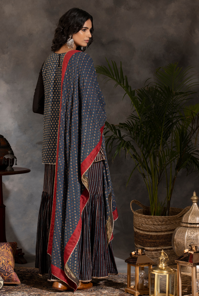 Saanjh Black/Navy/Red Gharara Set