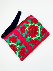 Hand Embroidered Purse with Wrist Strap
