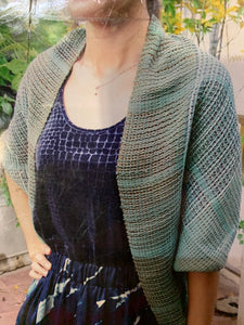 Versatile, comfortable, one hundred percent cotton. Can be worn as a bolero, cardigan or a scarf,