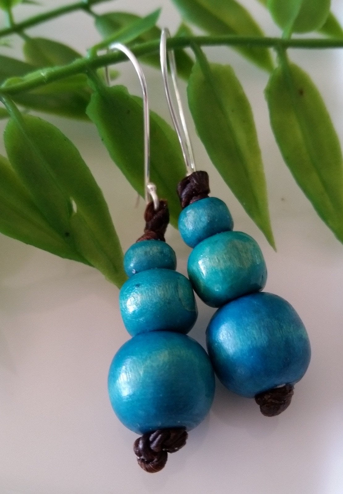 Pattaya Triple Wooden Bead Earrings