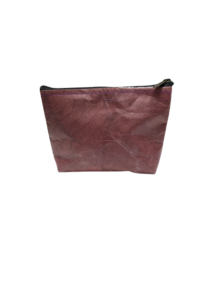 """Maddy"" Leaf Leather Cosmetic Purse"
