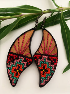 Hand Stitched Mango Wood Earrings  -  Nok Collection