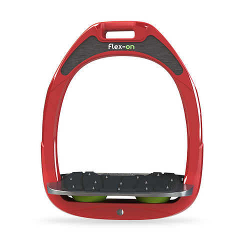 Flex-On Inclined Ultra Grip Stirrup - Red/Green - Equeto