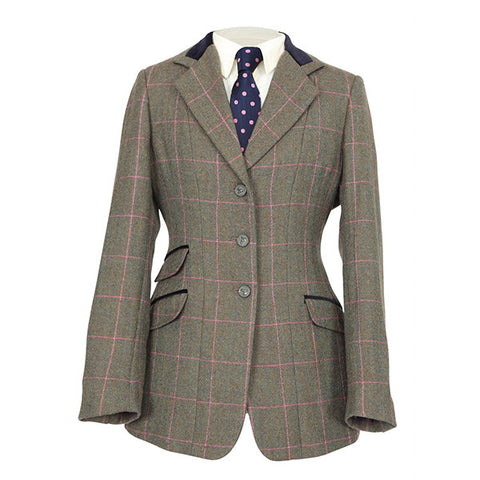 Shires Ladies Huntingdon Green Pink Check Jacket - Equeto