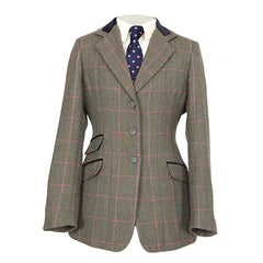 Shires Ladies Huntingdon Green Pink Check Jacket