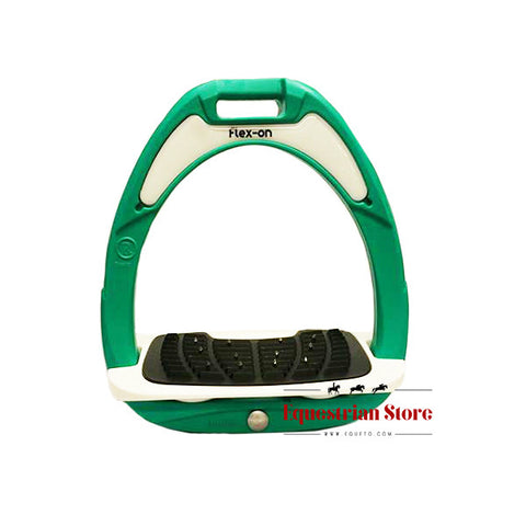 Flex-On Junior Inclined Ultra Grip Stirrups - Green/White