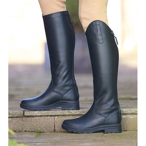 Shires Unisex Moreton Long Leather Riding Boot - Black - Equeto