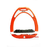 Flex-On Junior Inclined Ultra Grip Stirrups - Orange/White - Equeto