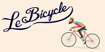 Image of bearded man on bicycle with words: Le Bicycle