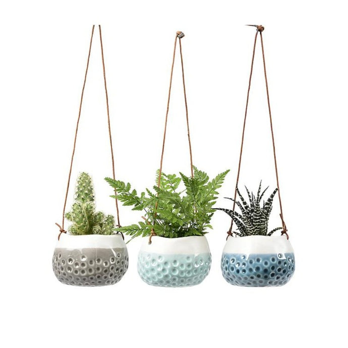 BURGON & BALL | Hanging Plant Pot - 'Baby Dotty Trio'