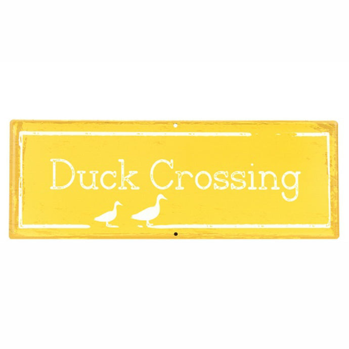 MARTHA'S VINEYARD Vintage Style Garden Sign - Duck Crossing - Yellow
