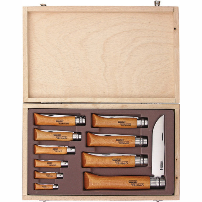 OPINEL | Ten Piece Folding Knife Set - Carbon / Beech OP83102