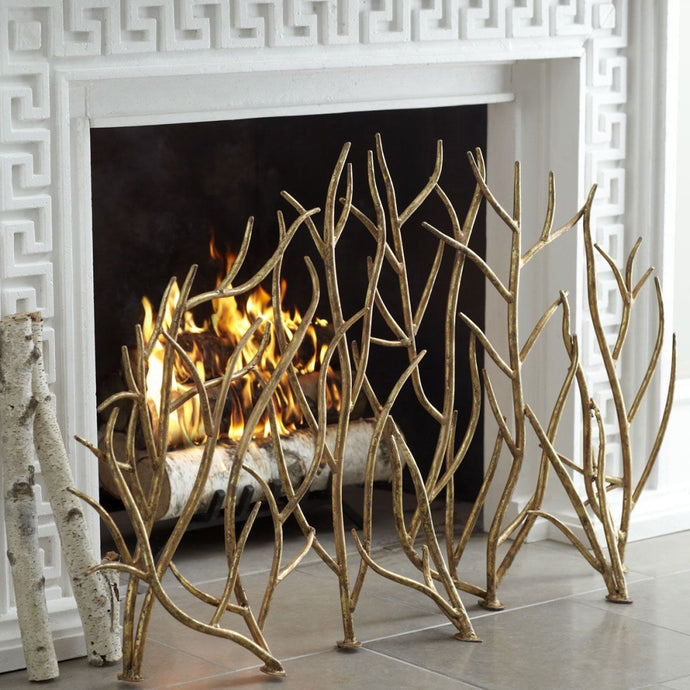 UTTERMOST Gold Branches Decorative Fireplace Screen / Summer Screen