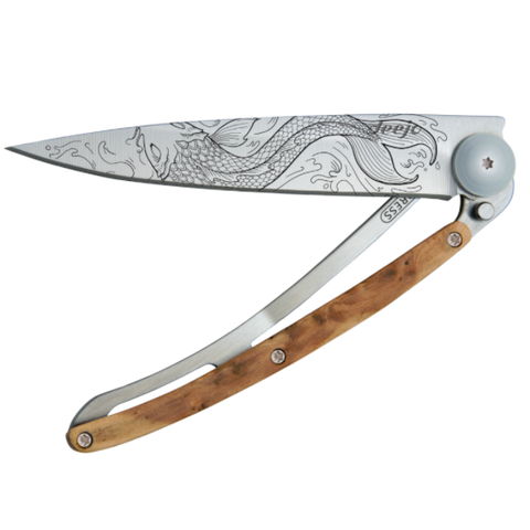 DEEJO KNIFE | Juniper Wood 37g - Fish Half Closed