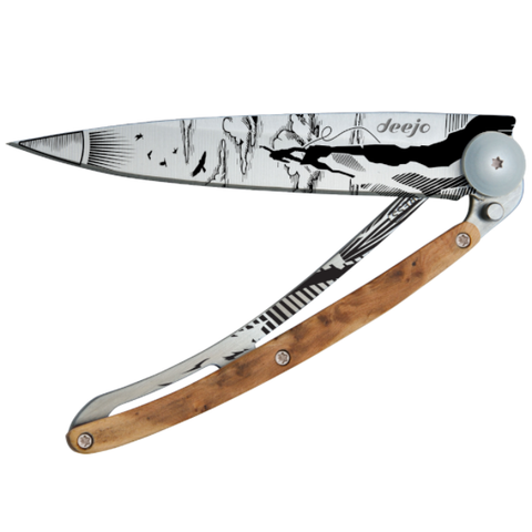 DEEJO KNIFE | Juniper Wood 37g - Climbing Half Closed