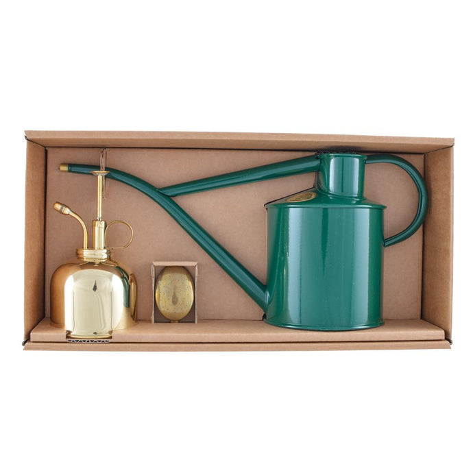 HAWS | Classic Plant Watering Set - Green 1 Litre Watering Can & Brass Mister