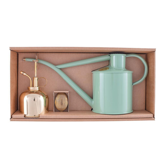 HAWS | Classic Watering Set - Sage 1L Can & Brass Mister