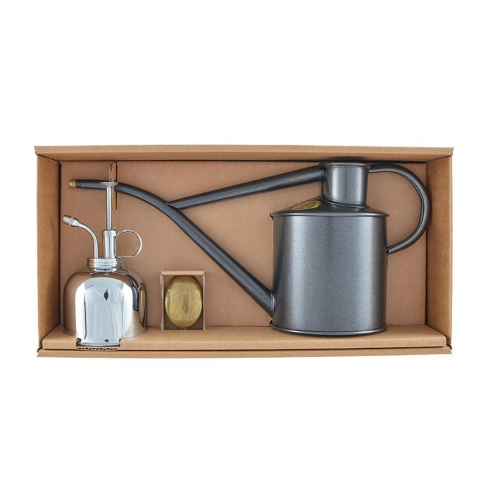 HAWS | Classic Watering Set - Graphite 1L Can & Nickel Mister
