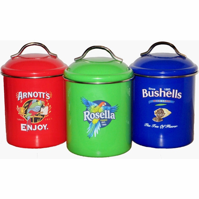 ARNOTTS,  BUSHELLS & ROSELLA Vintage Style Canister 3pc Set - Coloured
