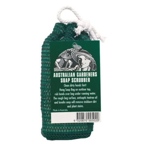 Soap scrubber hang bag for gardeners