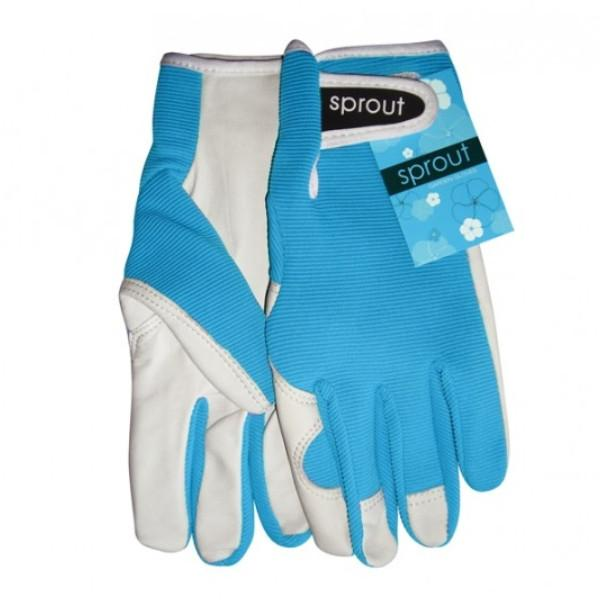 Ladies Goatskin and Lycra Gloves- Sprout brand - Aqua colour