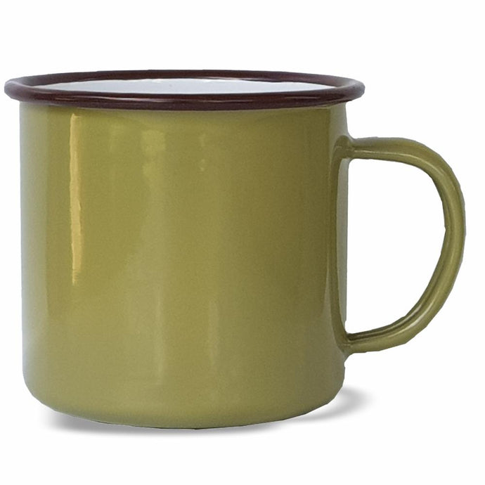 BOTANEX ENAMELWARE | 350ml Mug - Army Green with Burgandy Rim